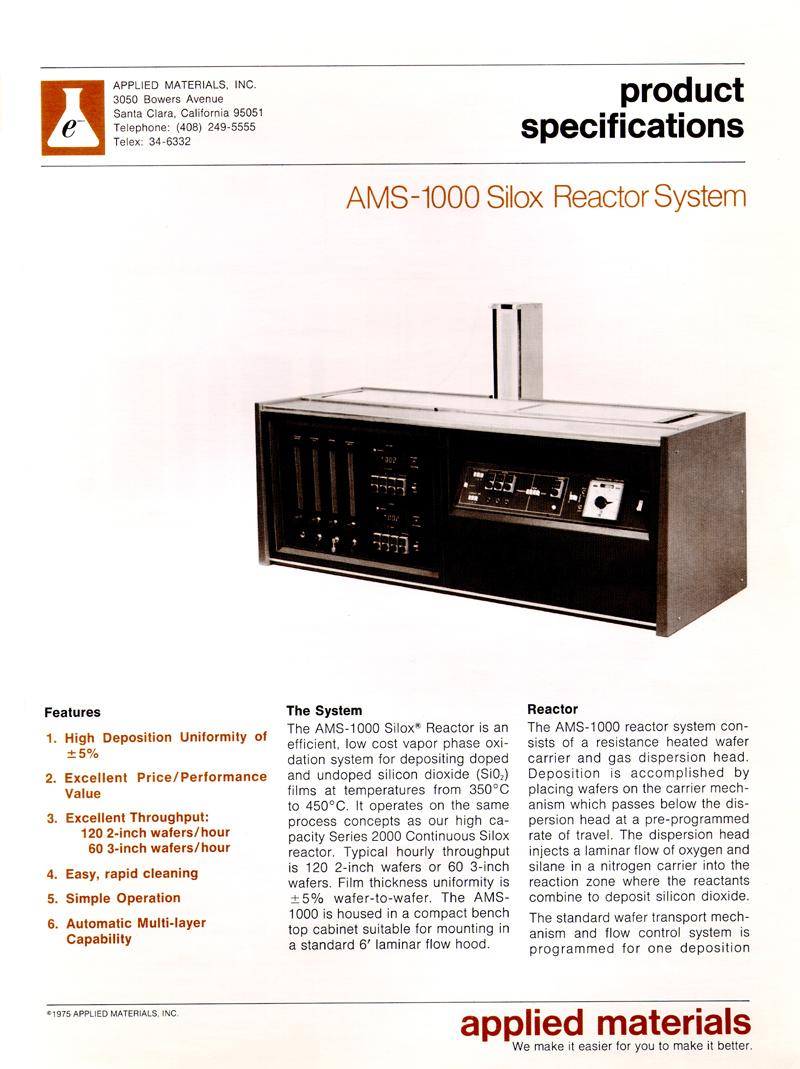 Applied Materials - AMS 1000 Silox Reactor
