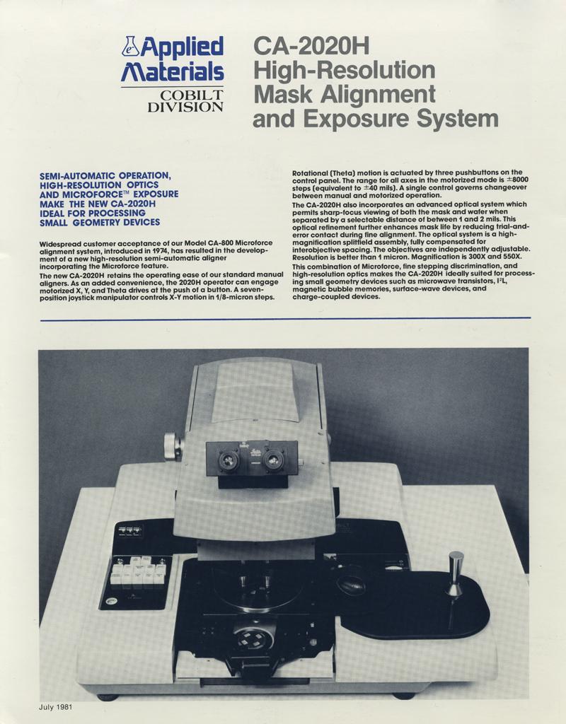 Applied Materials - CA-2020H Mask Aligner :1980-84