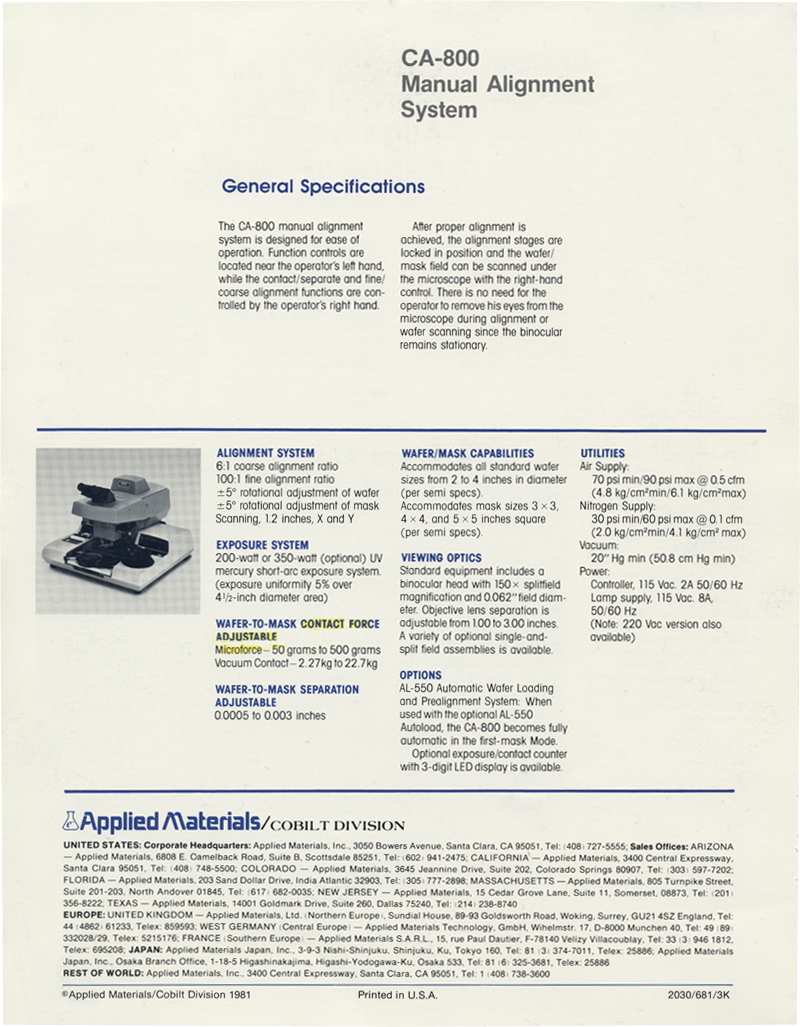 Applied Materials - CA-800 Mask Aligner and Exposure System