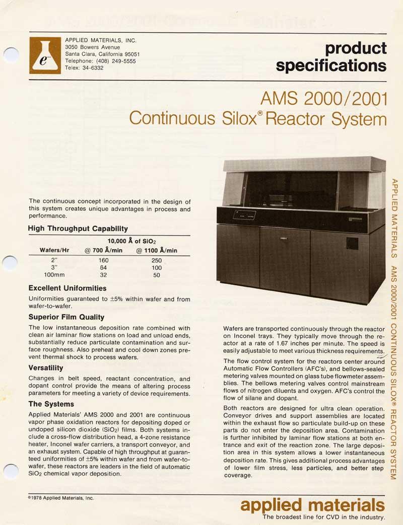 Applied Materials - AMS 2000 Silox Reactor