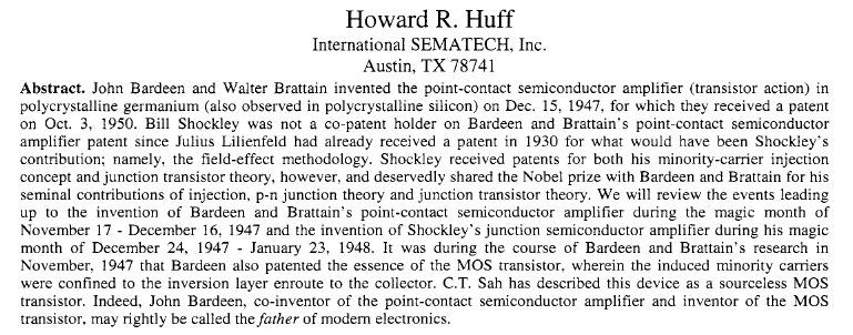 John Bardeen and Transistor Physics
