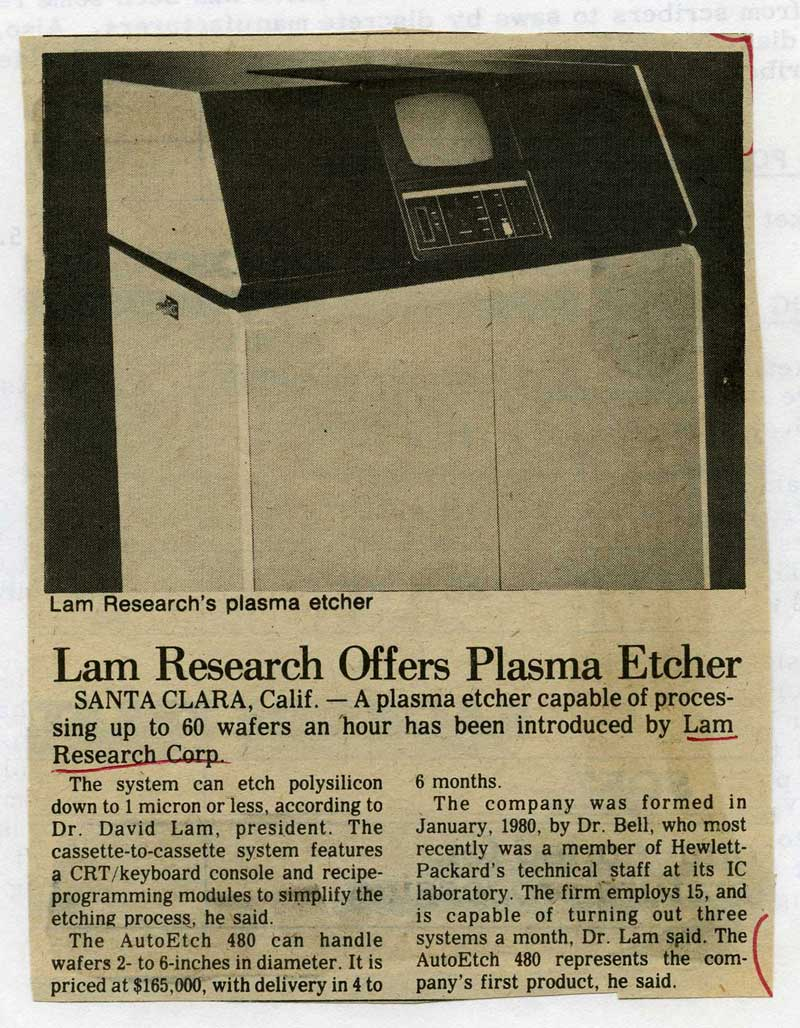 Lam Research Offers Plasma Etcher