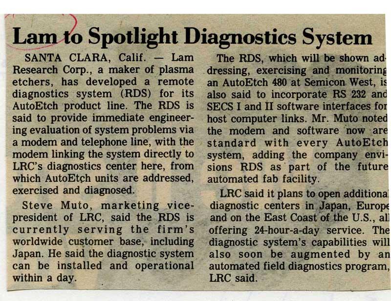 Lam to spotlight remote diagnostics system