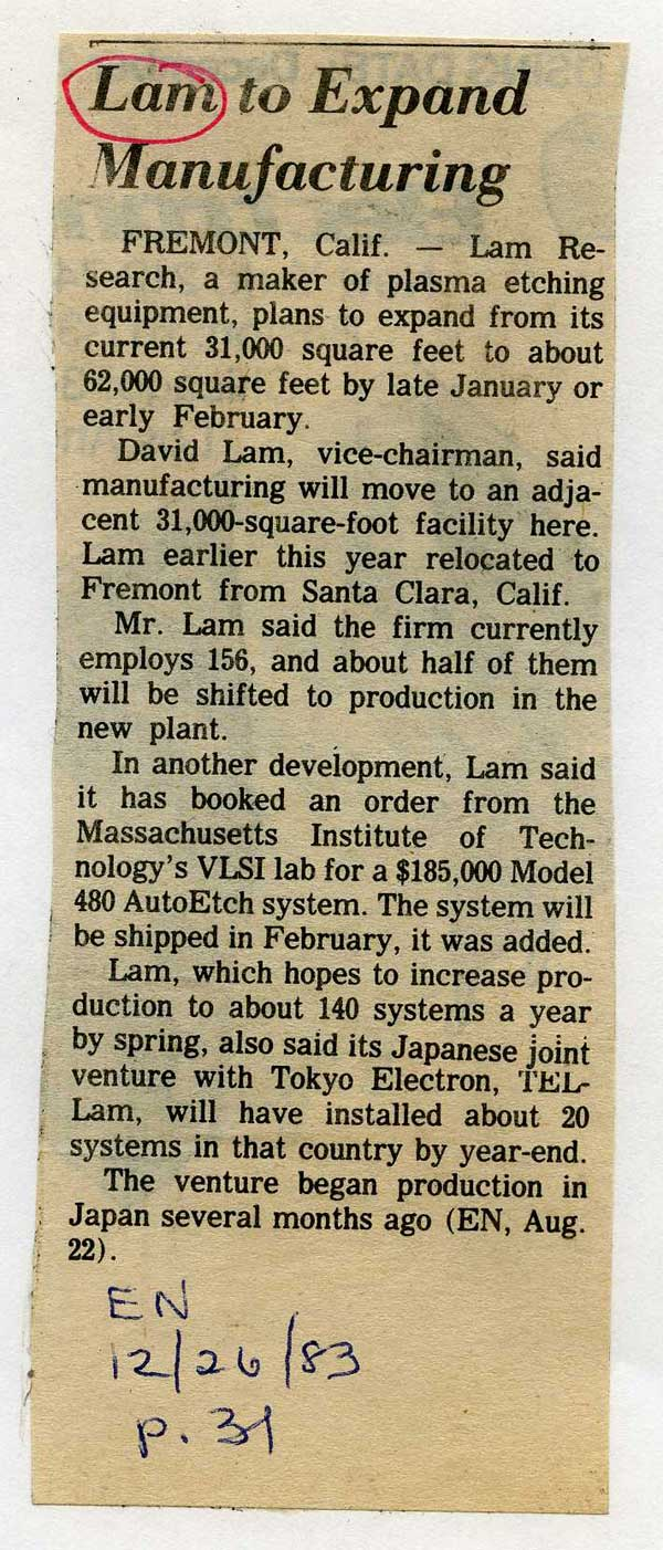Lam Research Corporation to expand Manufacturing