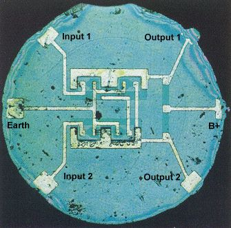 First Monolithic Silicon IC Chip. Invented by Robert Noyce, Fairchild